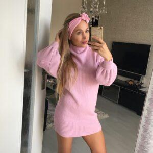Bledučkoružová elastická bavlnená úpletová šatka by Sissque