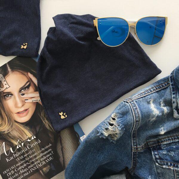 Jeansovomodrá melange imidžová čiapka by Sissque