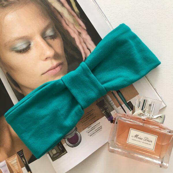 Smaragdovozelená elastická úpletová čelenka GOLDEN CIRCLE SMARAGD s dvoma možnosťami nosenia by Sissque