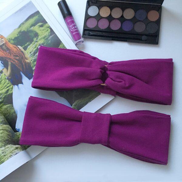 Výrazne fialová elastická úpletová čelenka GOLDEN CIRCLE VIOLET s dvoma možnosťami nosenia by Sissque