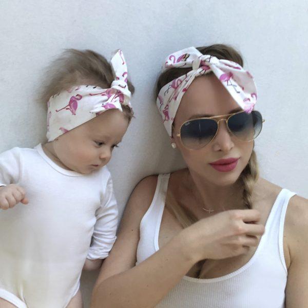 Látkové imidžové šatky mama a dcéra PINK FLAMINGO by Sissque
