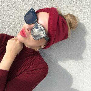 Hrejivá hrubšia úpletová elastická čelenka WARMY BORDO by Sissque a9d3d24f53