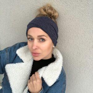 Hrejivá jeansovo modrá jemná svetríková elastická čelenka WARMY DENIM  MELANGE by Sissque 184f51bbe1