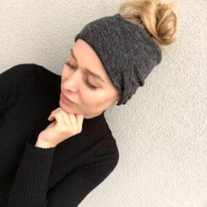 Hrejivá čierna melange jemná svetríková elastická čelenka WARMY MELANGE  BLACK by Sissque 272a56d128